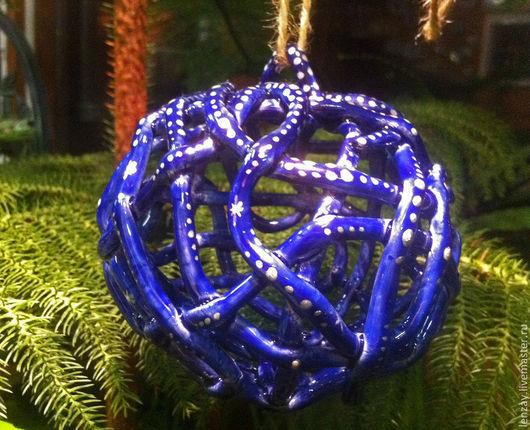 Колокольчики ручной работы. Ярмарка Мастеров - ручная работа. Купить Колокольчик - Елочный шар Синий. Handmade. Тёмно-синий, на елку