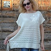 Одежда handmade. Livemaster - original item Tunic Flowers on white oversize. Handmade.