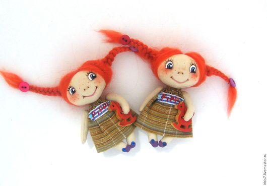 Броши ручной работы. Ярмарка Мастеров - ручная работа. Купить Брошки - куколки Пеппи. Handmade. Рыжий, Пеппи