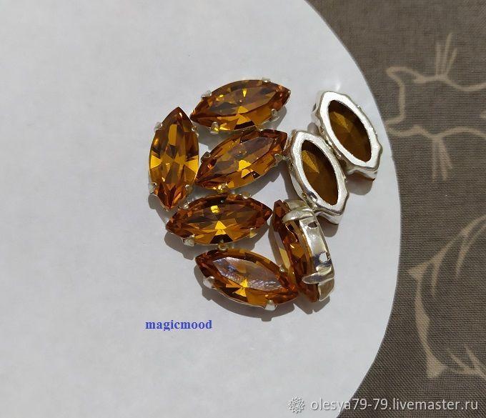 1 piece Czech rhinestone 15h7mm Topaz Navette Czech crystals in DACs, Rhinestones, Chelyabinsk,  Фото №1