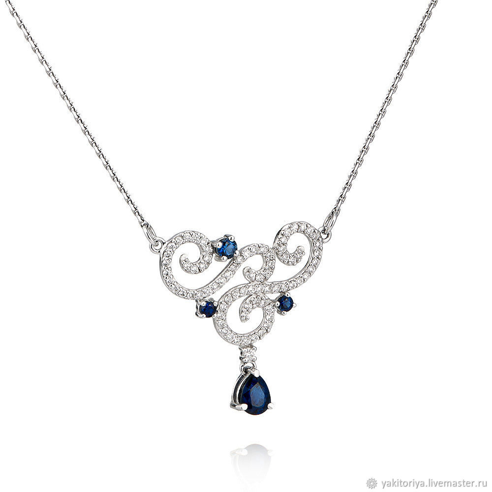 Gold necklace with sapphires and diamonds, Necklace, Moscow,  Фото №1