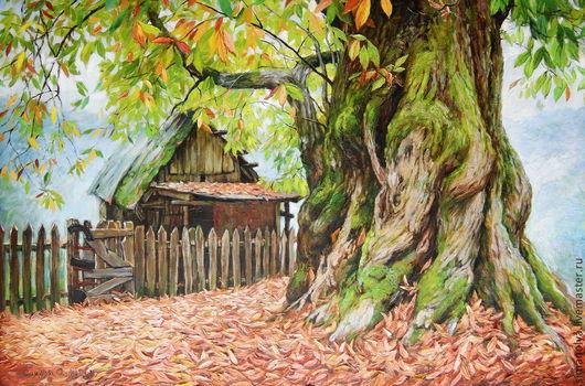 Пейзаж ручной работы. Ярмарка Мастеров - ручная работа. Купить Старый каштан. Handmade. Оливковый, картина в подарок, горы, забор