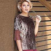 Одежда handmade. Livemaster - original item Velvet blouse with lace beige brown pleated. Handmade.