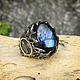 """Кольца ручной работы. Ярмарка Мастеров - ручная работа. Купить Серебряное кольцо """"Молот Тора"""" с лабрадоритом. Handmade. Украшения для мужчин"""