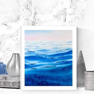 Pictures and panels handmade. Livemaster - original item Painting the sea in watercolor the Water surface. Handmade.