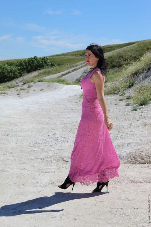 Платья ручной работы. Ярмарка Мастеров - ручная работа. Купить Длинное ажурное платье. Handmade. Розовый, летнее платье