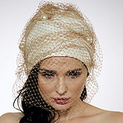 Аксессуары handmade. Livemaster - original item Evening turban hat hijab head wrap millinery with net and Pearls. Handmade.