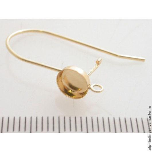 Для украшений ручной работы. Ярмарка Мастеров - ручная работа. Купить 1 пара Gold filled крючков для серег с кабошоном 6мм (18036/RGF). Handmade.