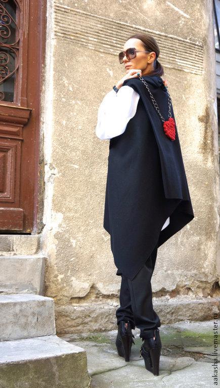 Пальто жилетка черное пальто черный кардиган шерстяное пальто пальто кардиган из шерсти