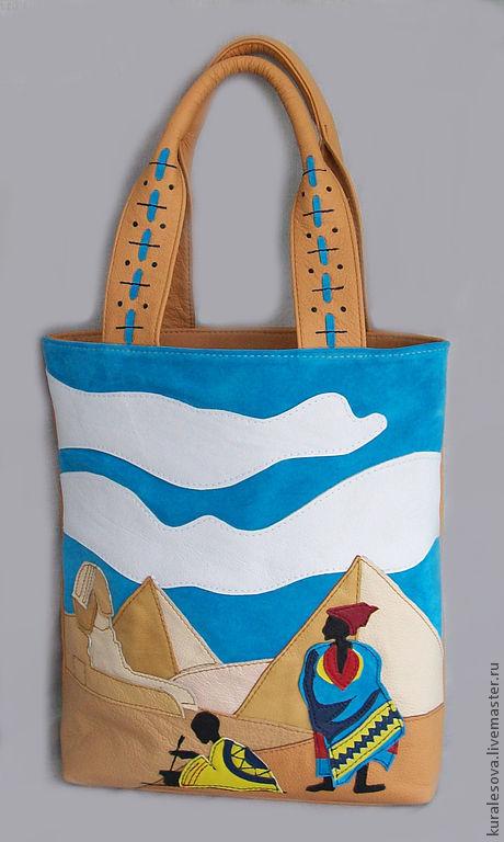 """Женские сумки ручной работы. Ярмарка Мастеров - ручная работа. Купить Кожаная сумка """"Египет"""" 1 отдел. Handmade."""