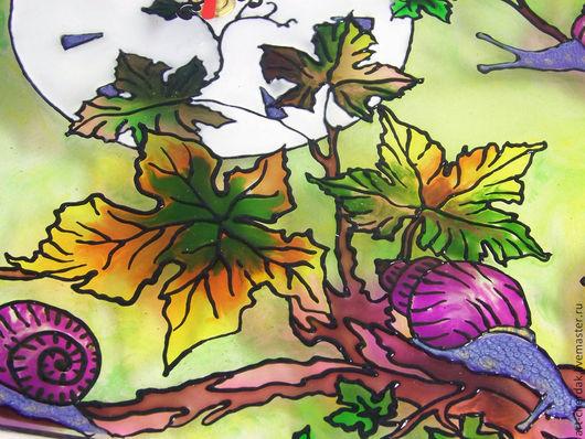 """Часы для дома ручной работы. Ярмарка Мастеров - ручная работа. Купить Часы витражные """"Виноградные улитки"""". Handmade. Витраж, стекло"""