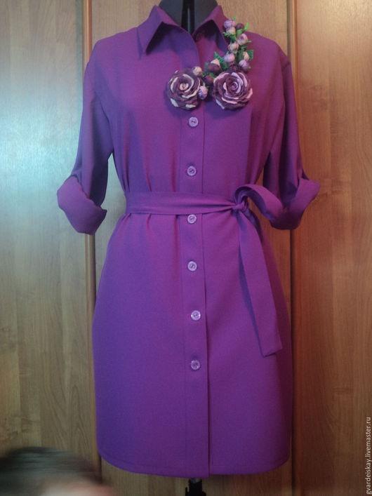 Платья ручной работы. Ярмарка Мастеров - ручная работа. Купить Платье рубашка. Handmade. Фуксия, платье рубашка, платье женское