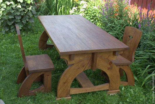 Мебель ручной работы. Ярмарка Мастеров - ручная работа. Купить Деревянный 2-х метровый стол из кедра  Средневековый. Handmade.