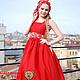 """Этническая одежда ручной работы. Ярмарка Мастеров - ручная работа. Купить Сарафан """"Любава"""" летний красный + платок. Handmade."""