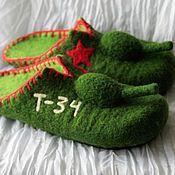 """Обувь ручной работы. Ярмарка Мастеров - ручная работа Мужские валяные тапочки """"Танки"""". Handmade."""