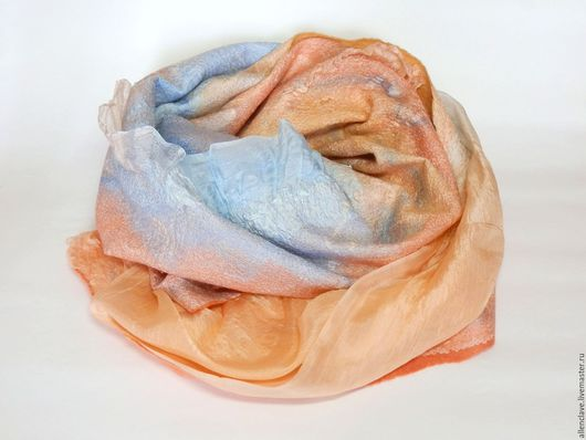 Шарфы и шарфики ручной работы. Ярмарка Мастеров - ручная работа. Купить шарф валяный Летний закат. Handmade. Абстрактный