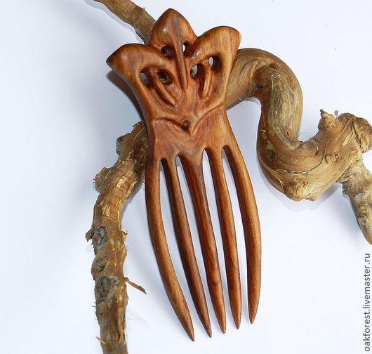 """Заколки ручной работы. Ярмарка Мастеров - ручная работа. Купить Заколка - гребень """"Орхидея"""" (вишня). Handmade. Гребень из дерева"""