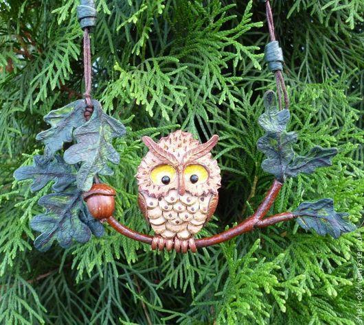 """Колье, бусы ручной работы. Ярмарка Мастеров - ручная работа. Купить Колье из кожи """"Зачарованный лес"""". Handmade. Сова"""