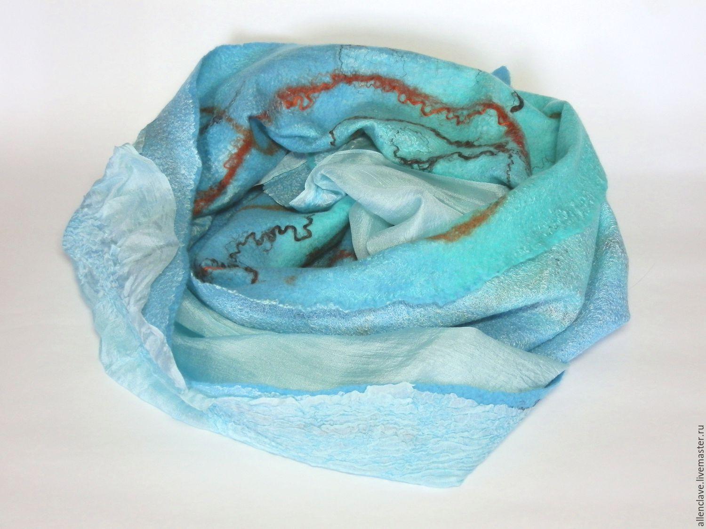 felted scarf Turquoise coast, Scarves, Barnaul,  Фото №1