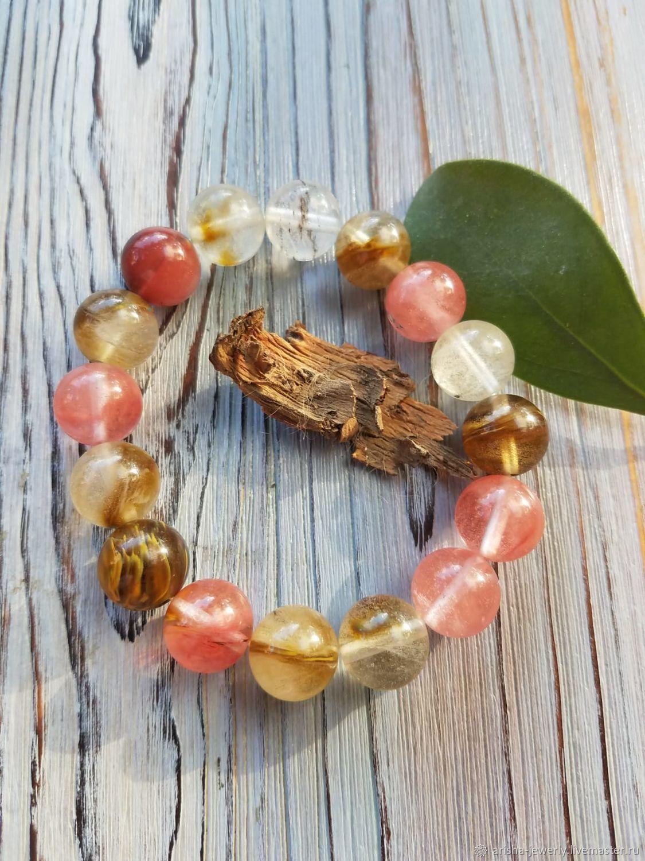 Bracelet with watermelon tourmaline-TENDERNESS, Bead bracelet, Ashkelon,  Фото №1