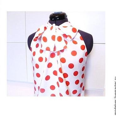 Одежда ручной работы. Ярмарка Мастеров - ручная работа Блузка .крупный ,красный горох на белом. Handmade.
