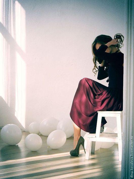 Платья ручной работы. Ярмарка Мастеров - ручная работа. Купить Платье винного цвета. Handmade. Бордовый, интересное платье, винный