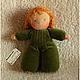 Вальдорфская игрушка ручной работы. Куколка в пришивном комбинезоне (зеленая). Мастерская Шью.Вяжу (@sew.knit). Ярмарка Мастеров. букле