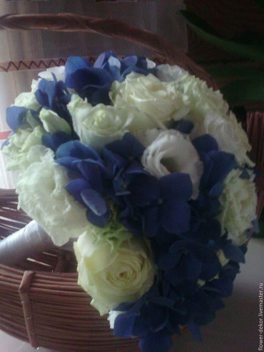 Букеты ручной работы. Ярмарка Мастеров - ручная работа. Купить Букет невесты с синей гортензией.. Handmade. Букет невесты, белый