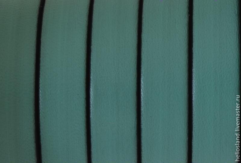 Кожаный шнур плоский 10 мм морская волна, Шнуры, Москва,  Фото №1