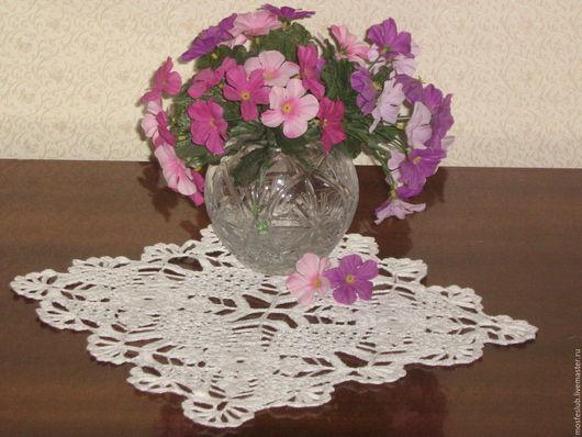 Текстиль, ковры ручной работы. Ярмарка Мастеров - ручная работа. Купить салфетка квадратная белого цвета, хороша для маленького столика. Handmade.