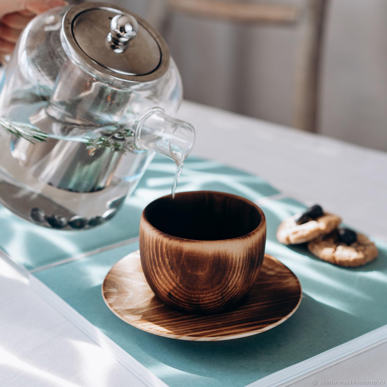 Чайная пара из сибирского кедра (кружка+блюдце) NC30, Кружки и чашки, Новокузнецк,  Фото №1