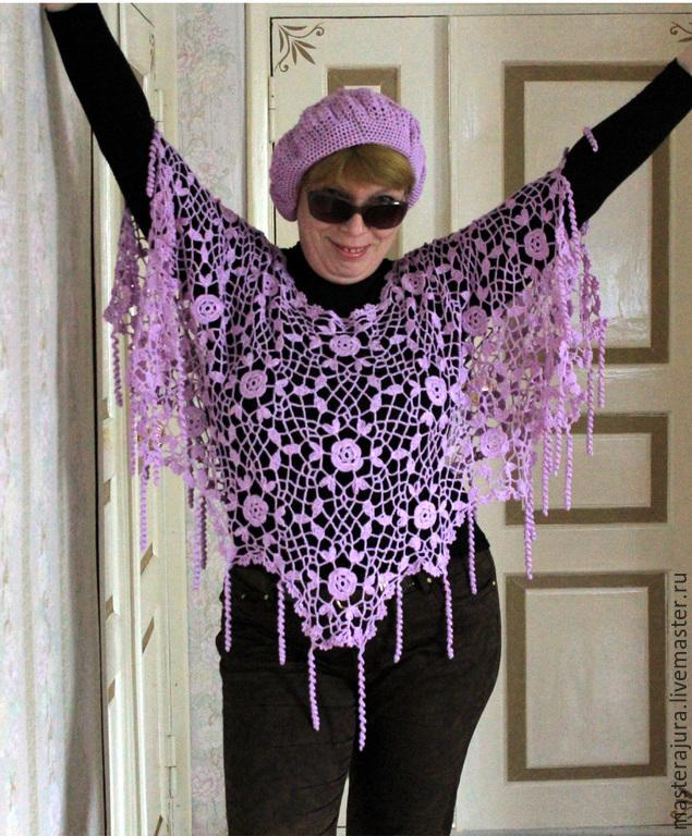 Poncho. Poncho crochet beret and `Purple haze`. Summer-autumn=spring kit.