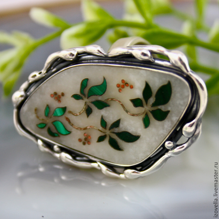 Ring 'Wild grapes' - the Florentine mosaic silver, Rings, Prague,  Фото №1
