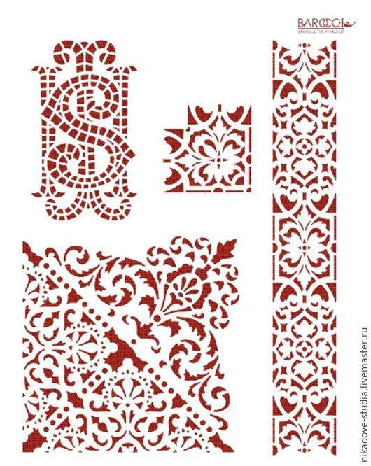 Декупаж и роспись ручной работы. Ярмарка Мастеров - ручная работа. Купить Кружево (К-11) - трафарет barocci. Handmade. Белый