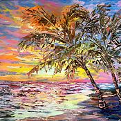 Картины и панно handmade. Livemaster - original item Oil painting with palm trees
