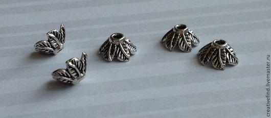 Для украшений ручной работы. Ярмарка Мастеров - ручная работа. Купить Шапочки для бусин,тибетское серебро. Handmade. Серебряный