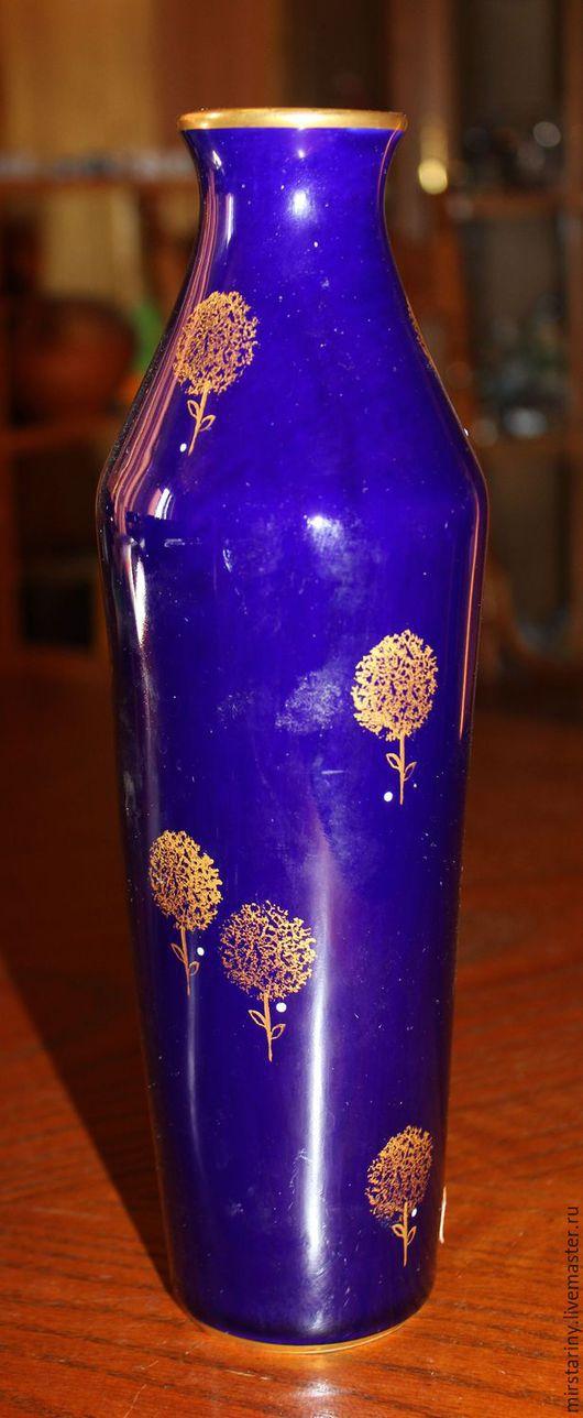 Винтажные предметы интерьера. Ярмарка Мастеров - ручная работа. Купить Красивая, стройная, фарфоровая ваза, кобальт с золотом, Германия,1945+. Handmade.