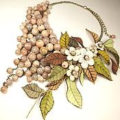 Украшения handmade. Livemaster - original item Days Apple Cider. Necklace and flowers. Sun stone, genuine leather. Handmade.