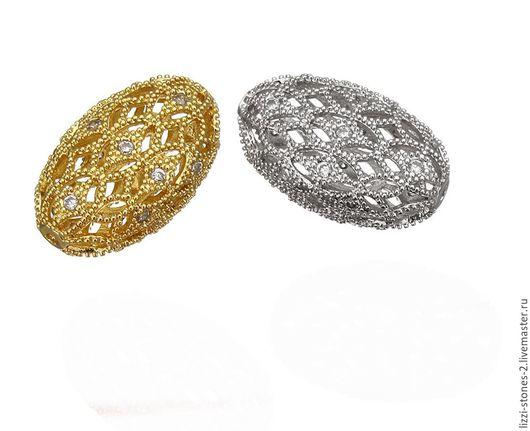 Бусина Ажурная крупная, серебро и золото (Milano) Евгения (Lizzi-stones-2)