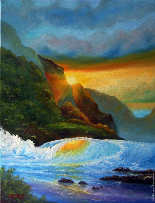 Пейзаж ручной работы. Ярмарка Мастеров - ручная работа. Купить Морской закат. Handmade. Комбинированный, море, волна, закат