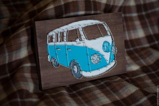 Символизм ручной работы. Ярмарка Мастеров - ручная работа. Купить Volkswagen в технике String Art. Handmade. Комбинированный, string art