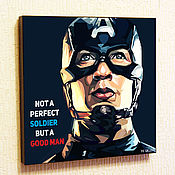 Картины и панно handmade. Livemaster - original item Picture poster of Captain America 2 Marvel`s Avengers in pop art style. Handmade.