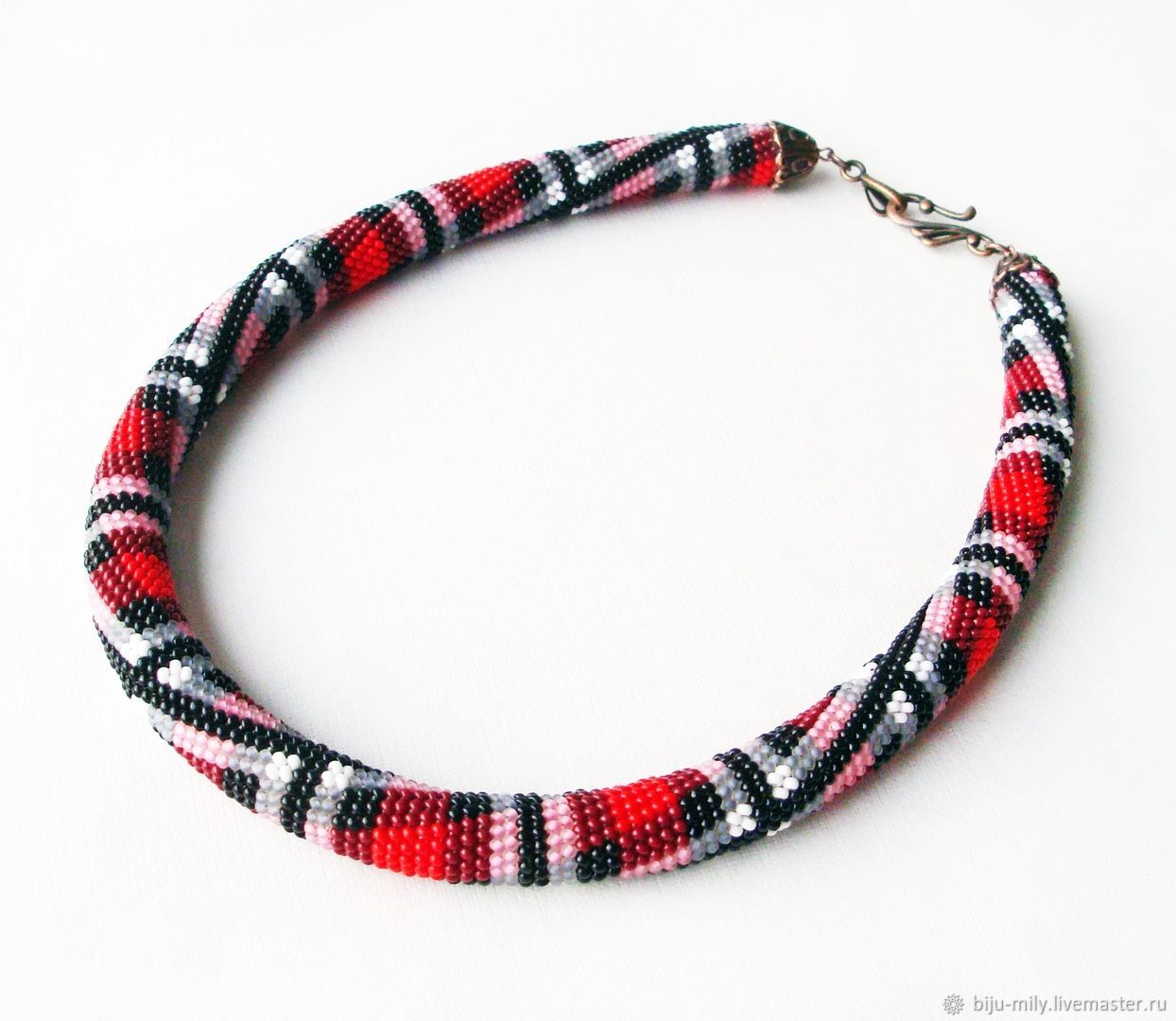 Plait from beads Plaid, Necklace, Abakan,  Фото №1