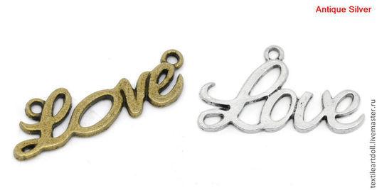 Для украшений ручной работы. Ярмарка Мастеров - ручная работа. Купить В13320, К03542 Коннектор с надписью Love. Handmade.