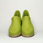 """Обувь ручной работы. Ярмарка Мастеров - ручная работа Валяные мокасины """"Яблочный фреш"""". Handmade."""