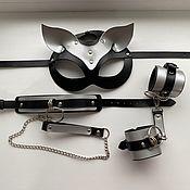 Аксессуары handmade. Livemaster - original item Set the mask of leash handcuffs,leather. Handmade.
