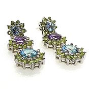 Украшения handmade. Livemaster - original item Long silver stud earrings with Topaz. Handmade.