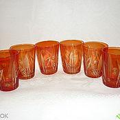 Винтаж handmade. Livemaster - original item CUPS, GLASSES. Set of 6 pieces. RED, RUBY glass. Handmade.