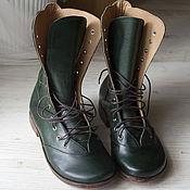 Обувь ручной работы. Ярмарка Мастеров - ручная работа Зеленые демисизонные ботинки из натуральной кожи. Handmade.