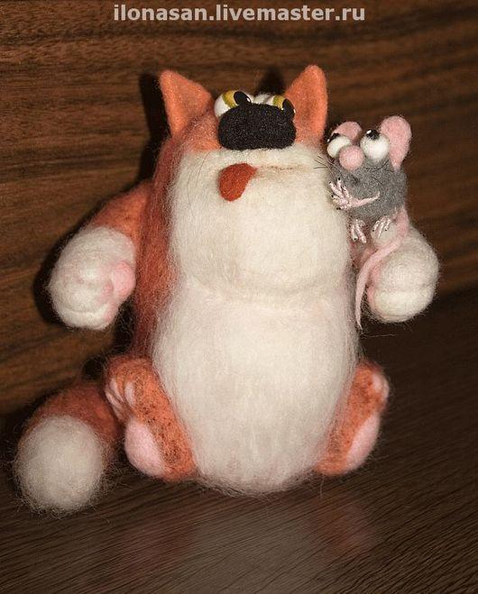 Игрушки животные, ручной работы. Ярмарка Мастеров - ручная работа. Купить Кот и Мышь (сухое валяние). Handmade. Валяный кот
